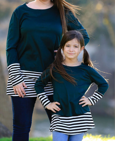 Mommy & Me Matching Stripe Hem Long Sleeve Top - dresslikemommy.com