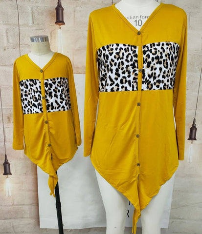 Matching Leopard Printed Stitching Long Sleeve Top - dresslikemommy.com