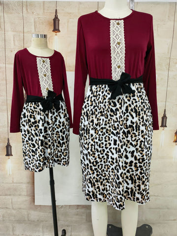 Matching Leopard Print Lace Dress - dresslikemommy.com