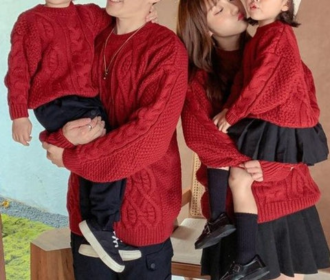 Family Matching Retro Knitted Pullover Sweater - dresslikemommy.com