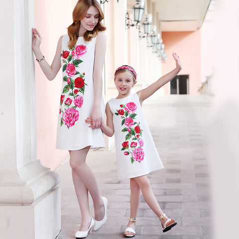 Matching Mother Daughter Floral Party Dress