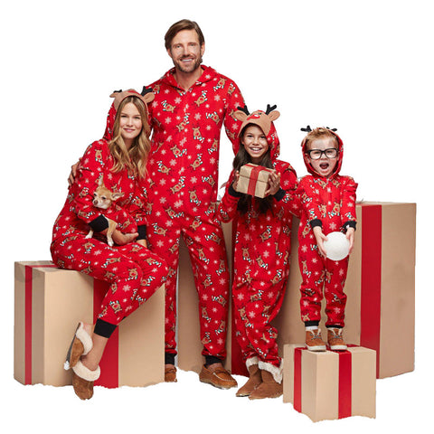 Family Matching Hooded Christmas Jumpsuit Pajamas - dresslikemommy.com