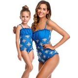 New 2020 Matching Pleated Printed Ruffled One-piece Swimsuit - dresslikemommy.com