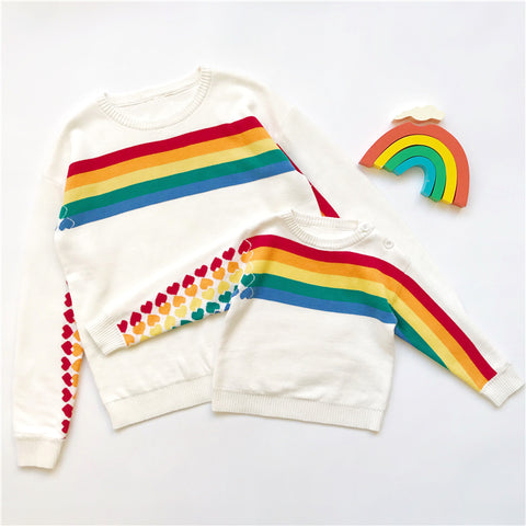 Mommy & Me Matching Hearts Rainbow Knitted Sweater - dresslikemommy.com