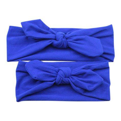 Baby and Mommy Top Knotted Headband Blue Set - dresslikemommy.com