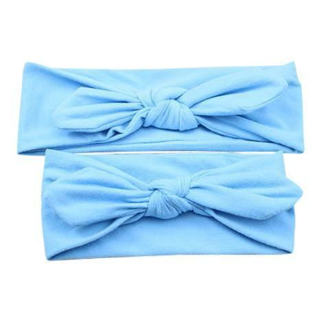 Baby and Mommy Top Knotted Headband Blue Set-Headbands-dresslikemommy.com