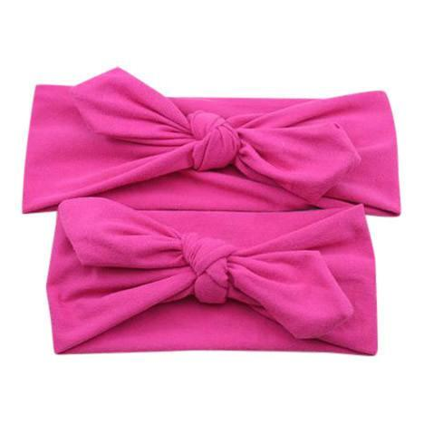 Baby and Mommy Top Knotted Headband Fuchsia Set - dresslikemommy.com