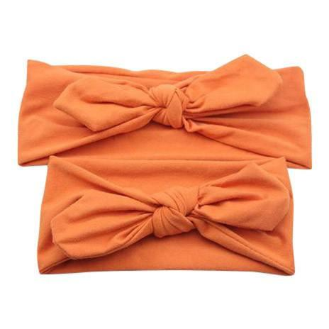 Baby and Mommy Top Knotted Headband Orange Set - dresslikemommy.com