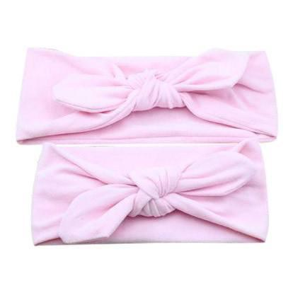 Baby and Mommy Top Knotted Headband Pink Set - dresslikemommy.com