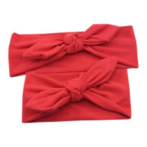 Baby and Mommy Top Knotted Headband Red Set - dresslikemommy.com