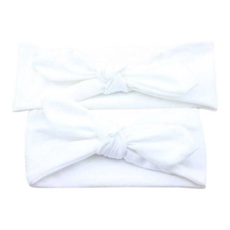 Baby and Mommy Top Knotted Headband White Set - dresslikemommy.com