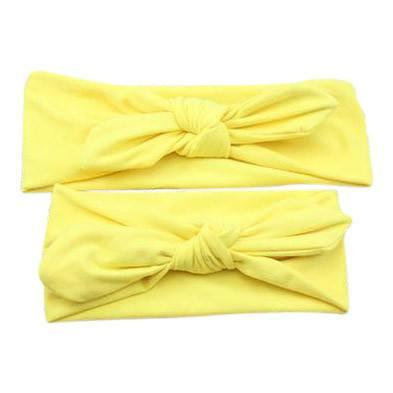 Baby and Mommy Top Knotted Headband Yellow Set - dresslikemommy.com