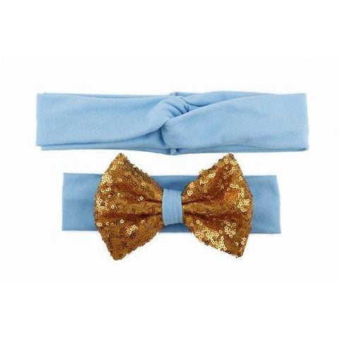 Baby & Mommy Knotted Hairband Blue Set - dresslikemommy.com
