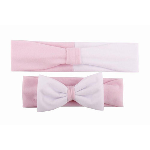 Baby & Mommy Knotted Hairband Pink White Set - dresslikemommy.com