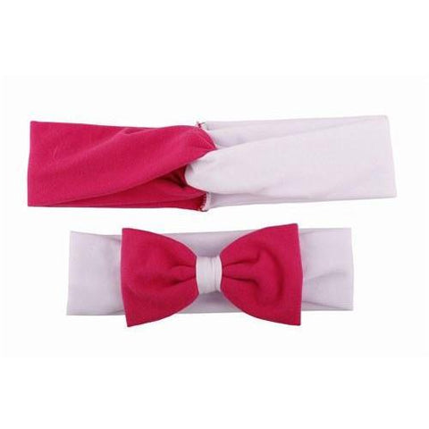 Baby & Mommy Knotted Hairband White Fuchsia Set - dresslikemommy.com