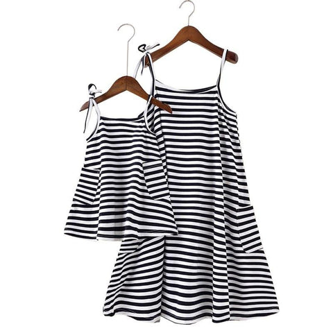 Classic striped Matching Outfits Dress - dresslikemommy.com