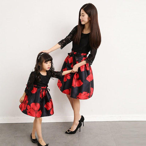 Daughter & Mom Floral Lace Dress-Dresses-dresslikemommy.com