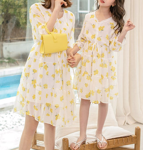 Mommy & Me Matching Floral Chiffon Dress - dresslikemommy.com