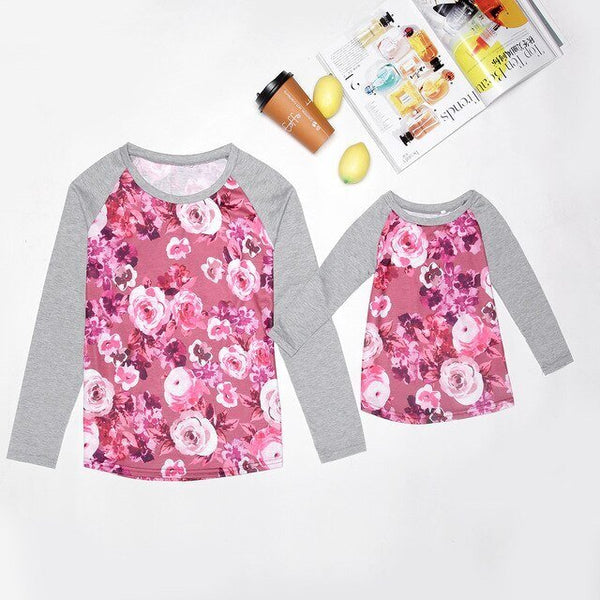 Matching Floral Long-sleeve T-shirt Mom & Me - dresslikemommy.com