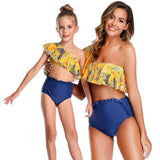 New 2020 Matching Ruffled One-shoulder Split Swimsuit - dresslikemommy.com