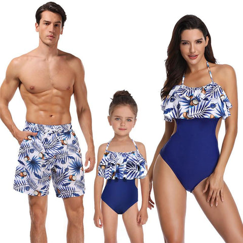 Family Matching Blue Coconut Swimsuits-Family Matching-dresslikemommy.com