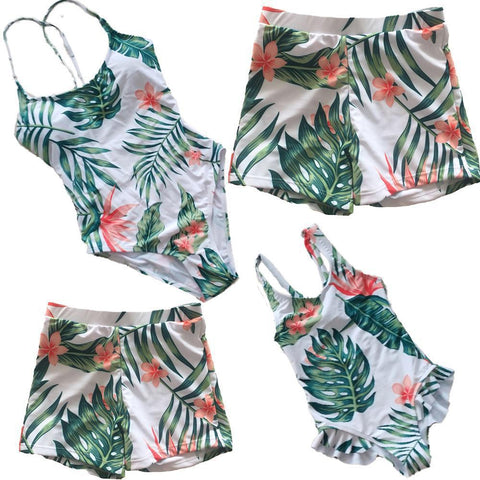 Family Matching Flowers Swimsuits-Family Matching-dresslikemommy.com