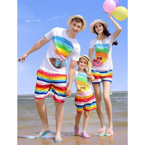 Family matching rainbow short + T-shirt Set - dresslikemommy.com