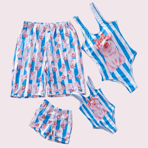 Family Matching Swimsuits Oink-Family Matching-dresslikemommy.com