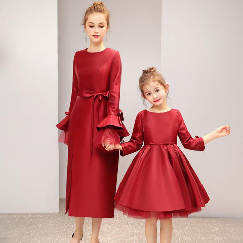 High-end Matching Twinning Red Dress (customize)-Dresses-dresslikemommy.com