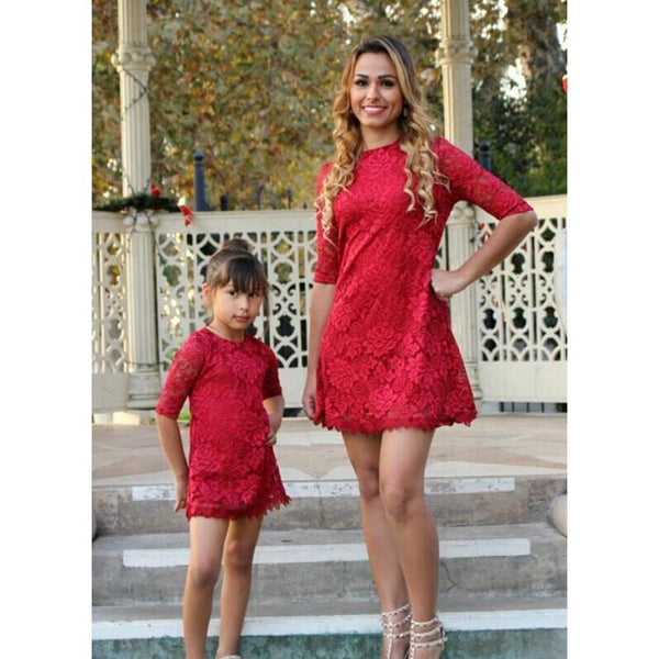 Lace Floral Red Dress Mommy & Me-Dresses-dresslikemommy.com