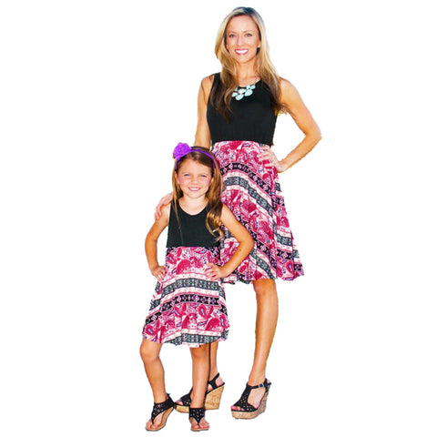 Matching Black Pink Splash Dress - dresslikemommy.com