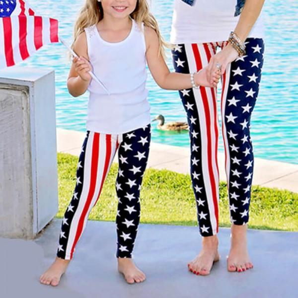 Matching American Flag Leggings Mommy & Me-Bottoms-dresslikemommy.com