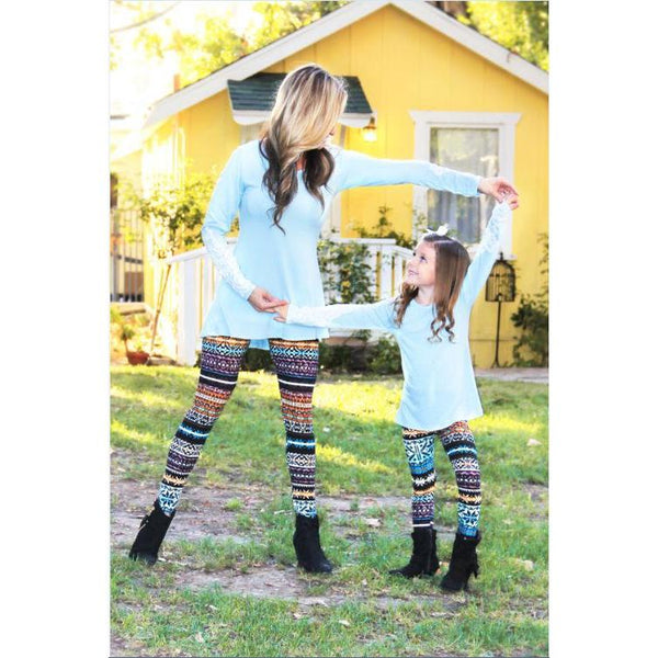 Matching Aztec Orange Brown Leggings Mommy & Me-Bottoms-dresslikemommy.com