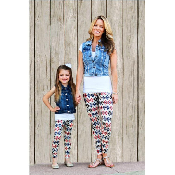 Matching Blue Red Leggings Mommy & Me-Bottoms-dresslikemommy.com