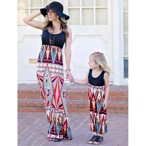Matching Colorful Geometric Dress - dresslikemommy.com