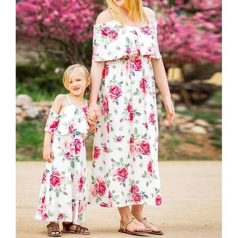 Matching Floral Maxi Dress Mommy & Me-Dresses-dresslikemommy.com