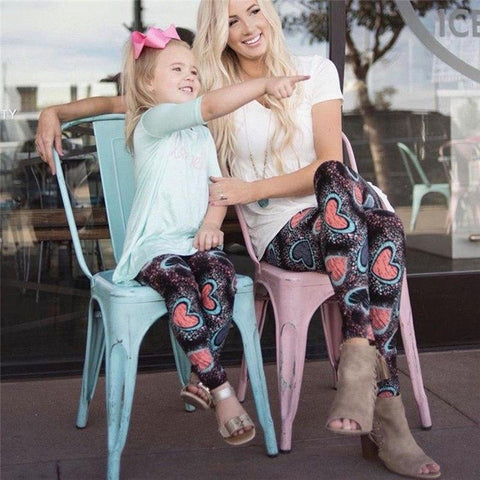 Matching Hearts Yoga Pants Mommy & Me-Bottoms-dresslikemommy.com