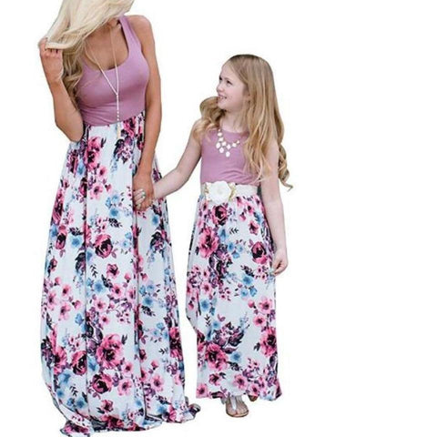 Matching Maxi Purple Double Rose Patchwork-Dresses-dresslikemommy.com
