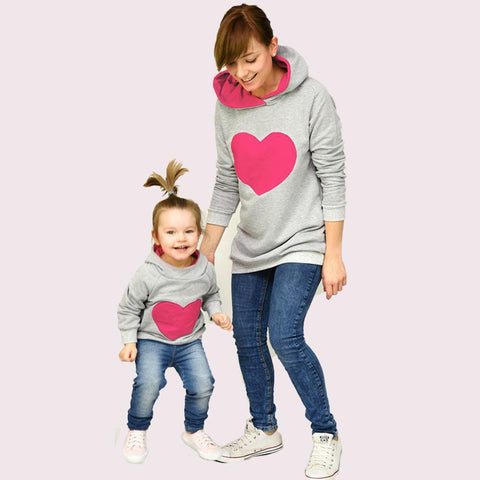 Matching Mommy & Me Heart Hoodie-Sweaters-dresslikemommy.com