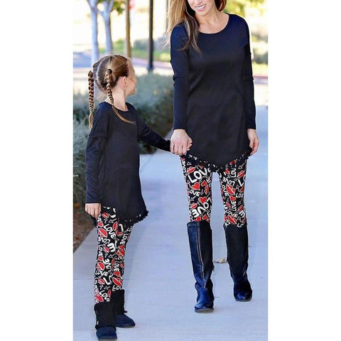 Matching Mommy & Me Love Hearts Leggings-Bottoms-dresslikemommy.com