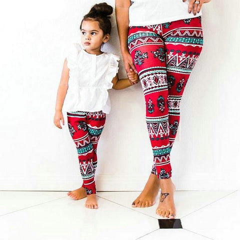 Matching Mommy & Me Red Floral Leggings-Bottoms-dresslikemommy.com