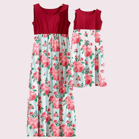 Matching Mommy & Me Red Roses Maxi Dress-Dresses-dresslikemommy.com