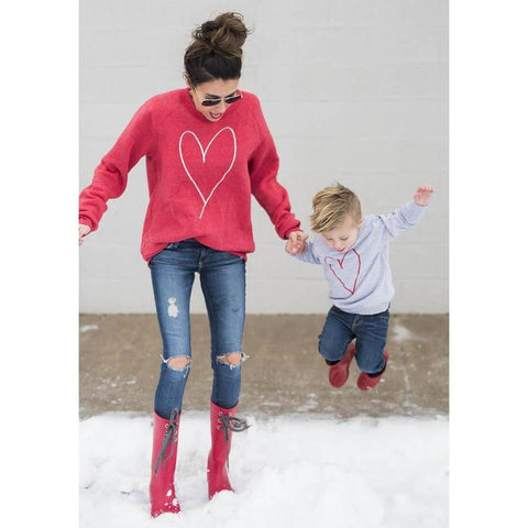 Matching Mother & Me Heart Sweater T-Shirt-Tops-dresslikemommy.com