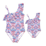Matching One Piece Colorful Summer Swimsuit - dresslikemommy.com