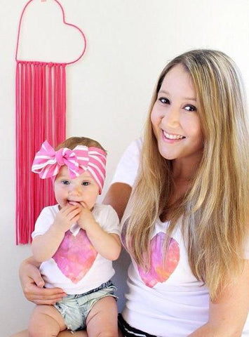 Matching Outfits Pink Love Heart T-shirt-Tops-dresslikemommy.com