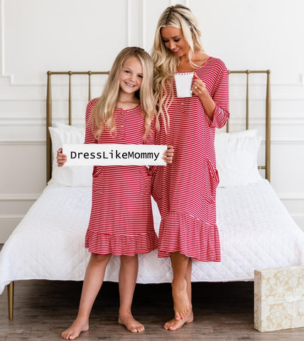 Mother Daughter Matching Red Stripe Pajamas - dresslikemommy.com
