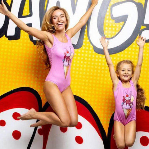 Matching Pink Ice Cream Swimsuits-Swimsuits-dresslikemommy.com