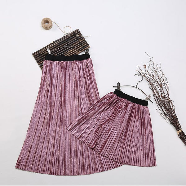 Matching Solid Pleated Velvet Skirt-Bottoms-dresslikemommy.com