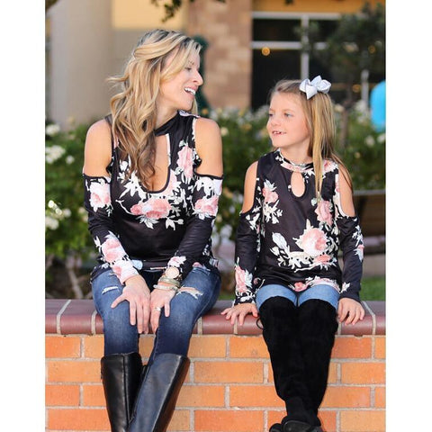 Matching Strapless Floral T-shirt Top-Tops-dresslikemommy.com