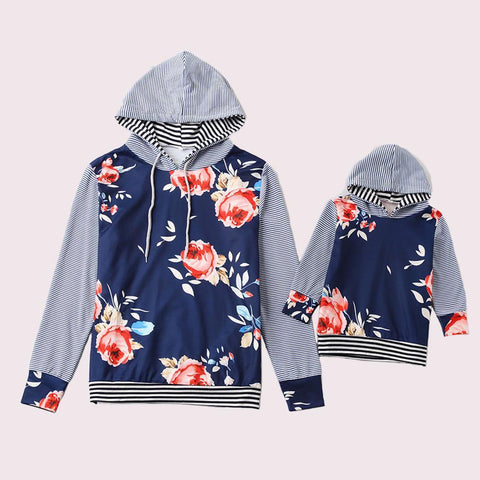 Matching Striped Floral Hoodie-Sweaters-dresslikemommy.com